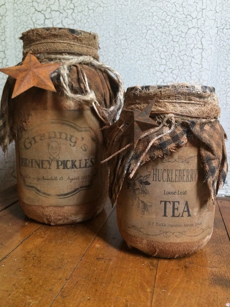 Primitive grubby grungy pantry jars pickles tea cupboard tuck country decor ebay