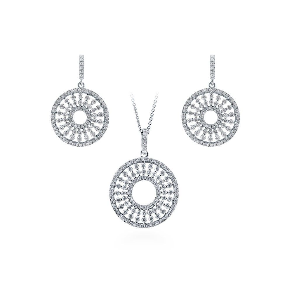 Rhodium Plated Sterling Silver Post Stud Earrings 3//8 inch 6.5mm CZ with 1mm CZ Halo