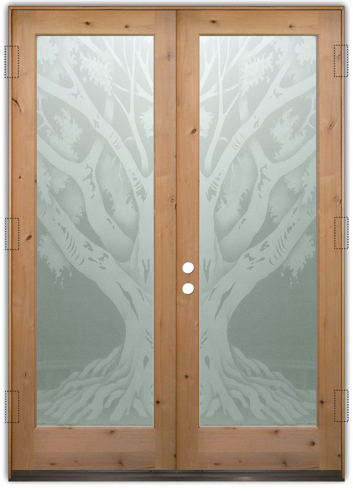 Oak Tree 2d Double Entry Doors Hand Crafted Sandblast Frosted And 3d Carved Available As