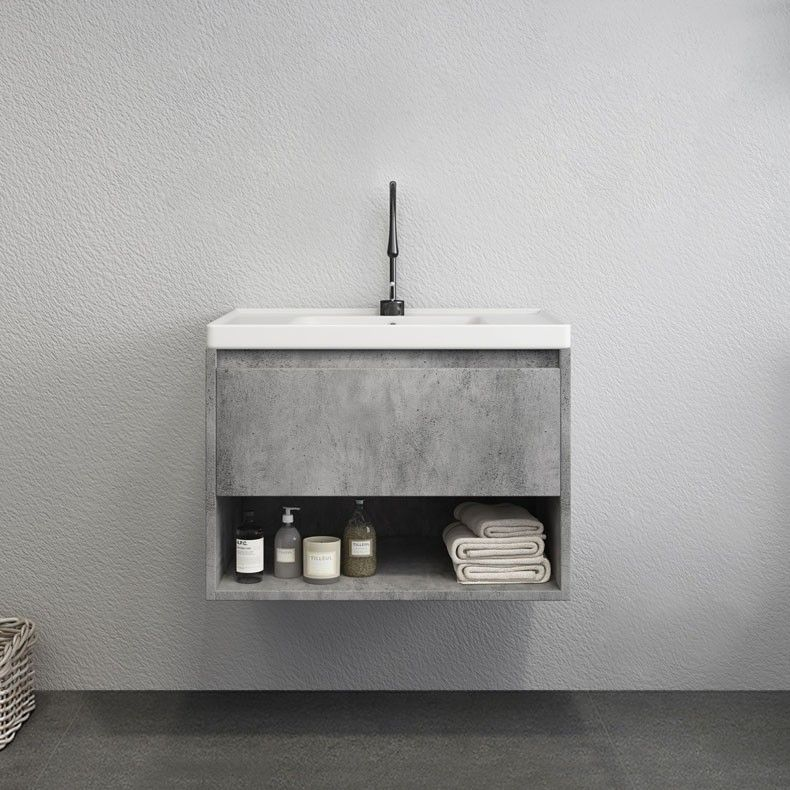 gray floating bathroom shelves