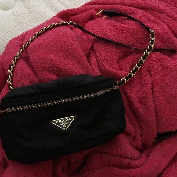 8425b933a30f Prada belt bag Quilted fabric Prada belt bag on a black leather and gold  chain belt