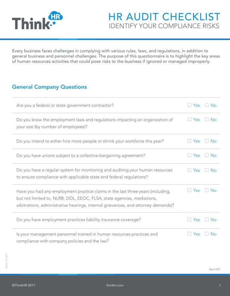 19 Hr Checklist Examples Pdf Examples Inside Sample Hr Audit Report Template Social Media Checklist Checklist Report Template