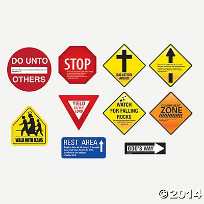 Inspirational Road Sign Wall Decorations Oriental Trading Sunday School Classroom Vacation Bible School Construction Signs