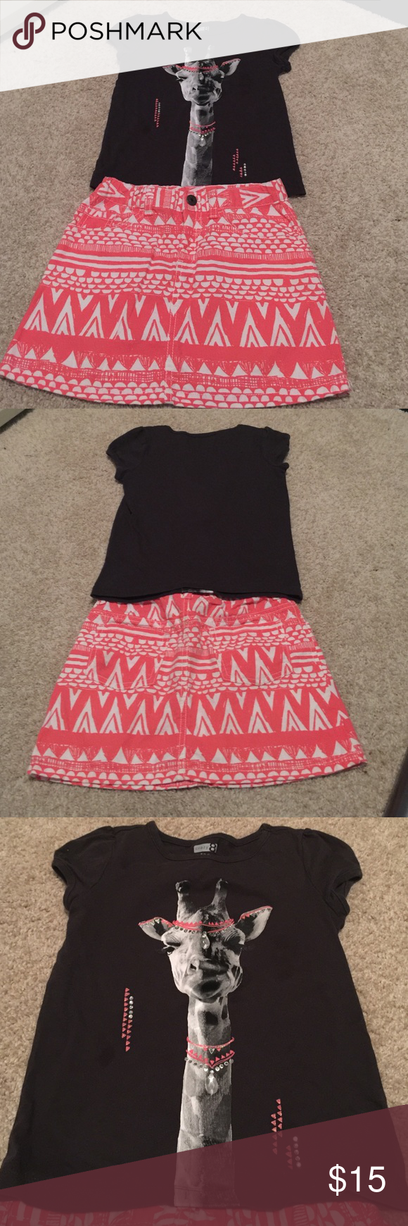 Girls Crazy 8 Boho Set Shirt is size small 5/6 and skirt is size 7 with adjustable waist! Both in excellent condition!! Smoke free home. Coral brown and white Crazy 8 Bottoms Skirts