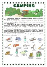 english worksheet camping food worksheets vocabulary worksheets camping theme. Black Bedroom Furniture Sets. Home Design Ideas