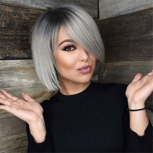 Pin By Women Hairstyle Pictures On Hair Color In 2020 Hair Styles Grey Hair Color Silver Thick Hair Styles