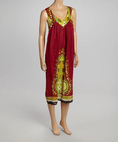 Love this Maroon Patchwork V-Neck Dress on #zulily! #zulilyfinds