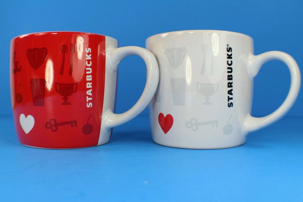 2 starbucks things i love valentines day white red coffee mugs heart set