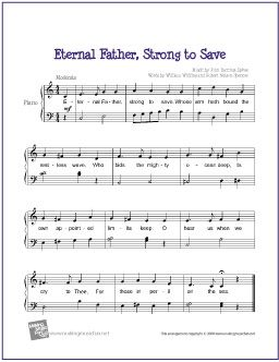 Eternal Father Strong To Save Free Sheet Music For Easy Piano