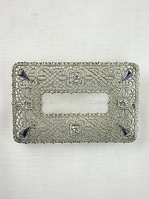 Antique Art Deco Filigree Brooch, PN-2429, Pin this sapphire and diamond Great Gatsby style brooch on your wedding sash!