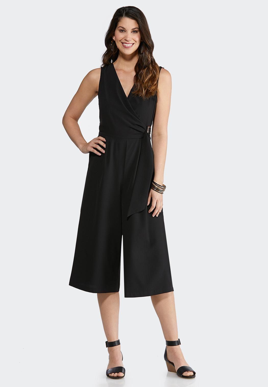 Cropped Tie Waist Jumpsuit Dresses Cato Fashions