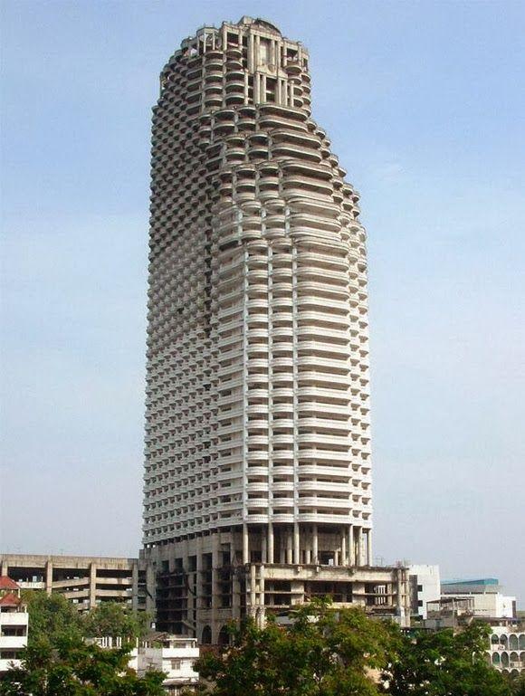 Sathorn Unique Bangkoks ghost skyscraper. The construction of the Sathor...