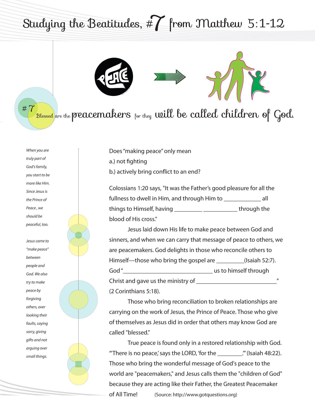 Worksheets Beatitudes Worksheet Worksheet To Teach The 7th