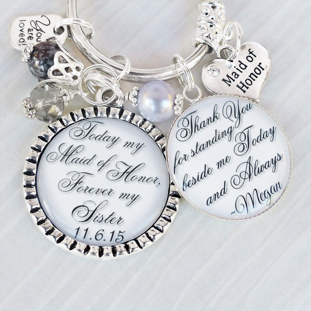 Personalized Maid Of Honor Keychain Or Necklace Bridesmaid Gift From Bride