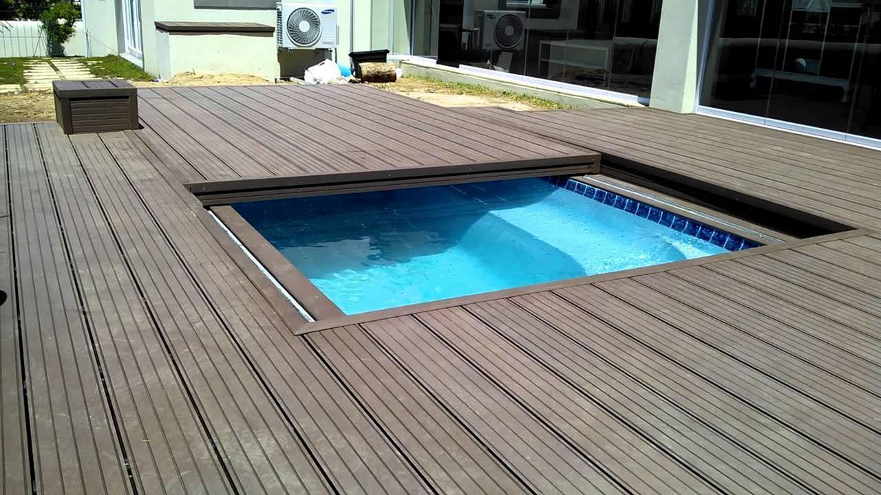 Wood Deck Pool Cover Wood Pool Deck Backyard Pool Landscaping Backyard Pool