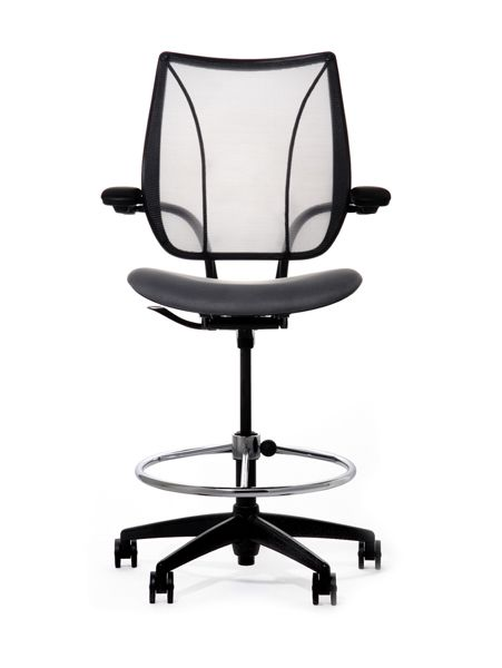 The Humanscale Liberty Drafting Chair Offers Same Comfort Of With An Extended Height Range And Foot Ring For Use At Table