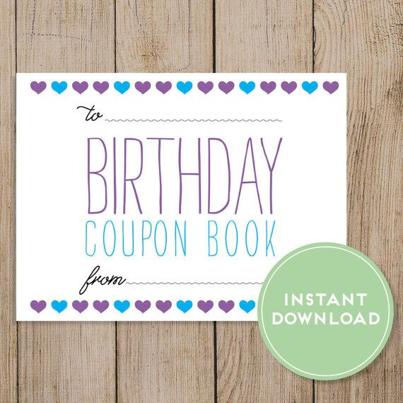 Printable Birthday Coupon Book Editable PDF DIY Gift Wife Girlfriend Mom Daughter Happy Card Friend Instant Download By