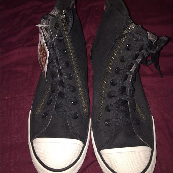High Top Bobs With Zipper Design Black And White High Tops With