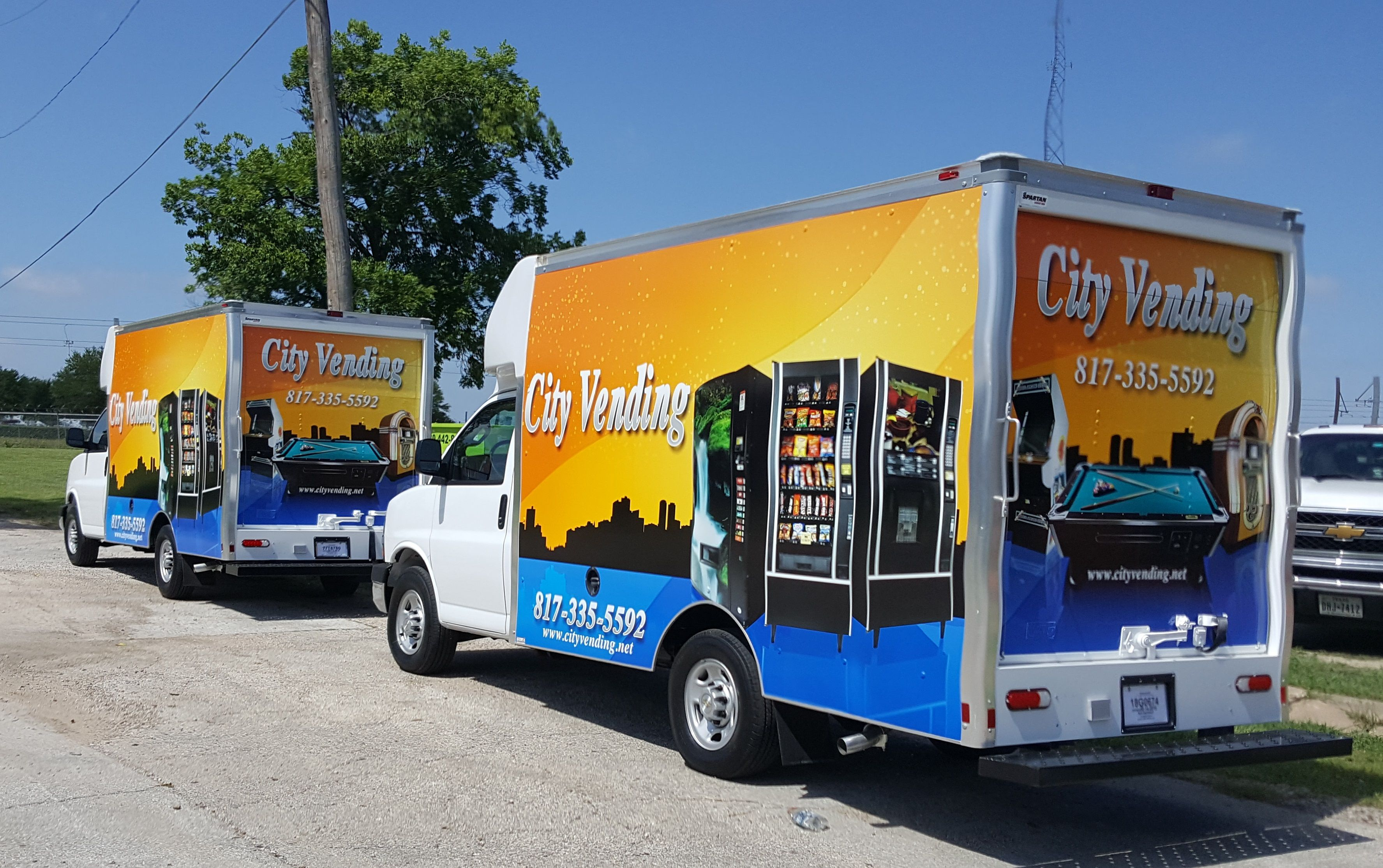 Two New Box Truck Skinzwraps For City Vending Company Fresh Out Of Our Install Bay In Dallas Texas Mobileadvertising Skinzwrap Company City Trucks