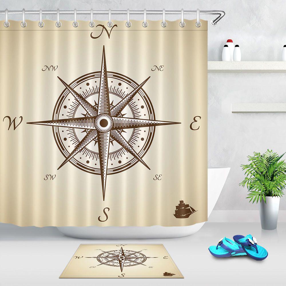 Vintage Cartoon Compass Fabric Shower Curtain Liner Polyester Bath