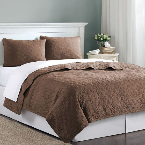 Chocolate Brown Velvet Touch Twin XL Coverlet Quilt Bedding Set Complete  With Sheets | FREE SHIPPING