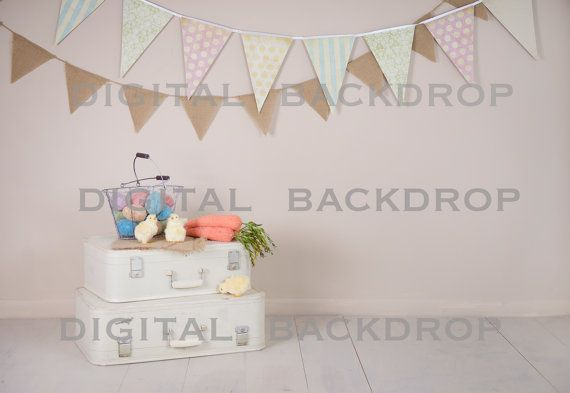 Baby Toddler Child Photography Prop Digital Backdrop for Photographers - EASTER SUITCASES DIGITAL Backdrop