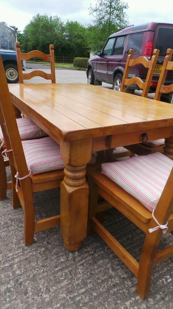 new styles 481e4 41e23 Farmhouse style pine chunky table and chairs | Dunmurry ...