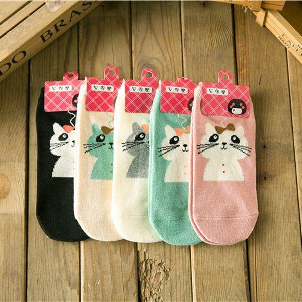 Women Cute Cotton Cartoon Socks Candy Bar Antenna Catwoman Socks