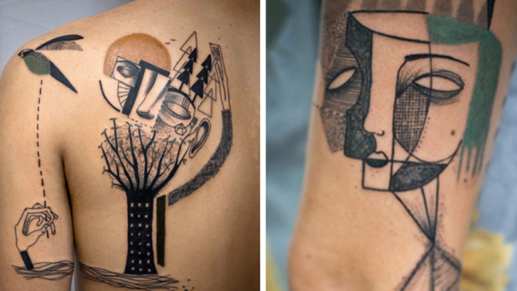 Tattoo Artists Creates Surreal Cubist Tattoos Based On