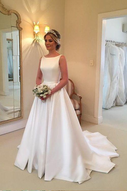 04f8d2f9afd Bateau Neckline A-line Satin Simple Wedding Dresses 2018