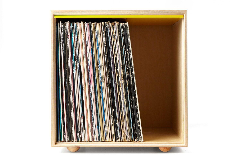 Stackable Storage Cube Yellow LP Vinyl Record от SimpleWoodGoods