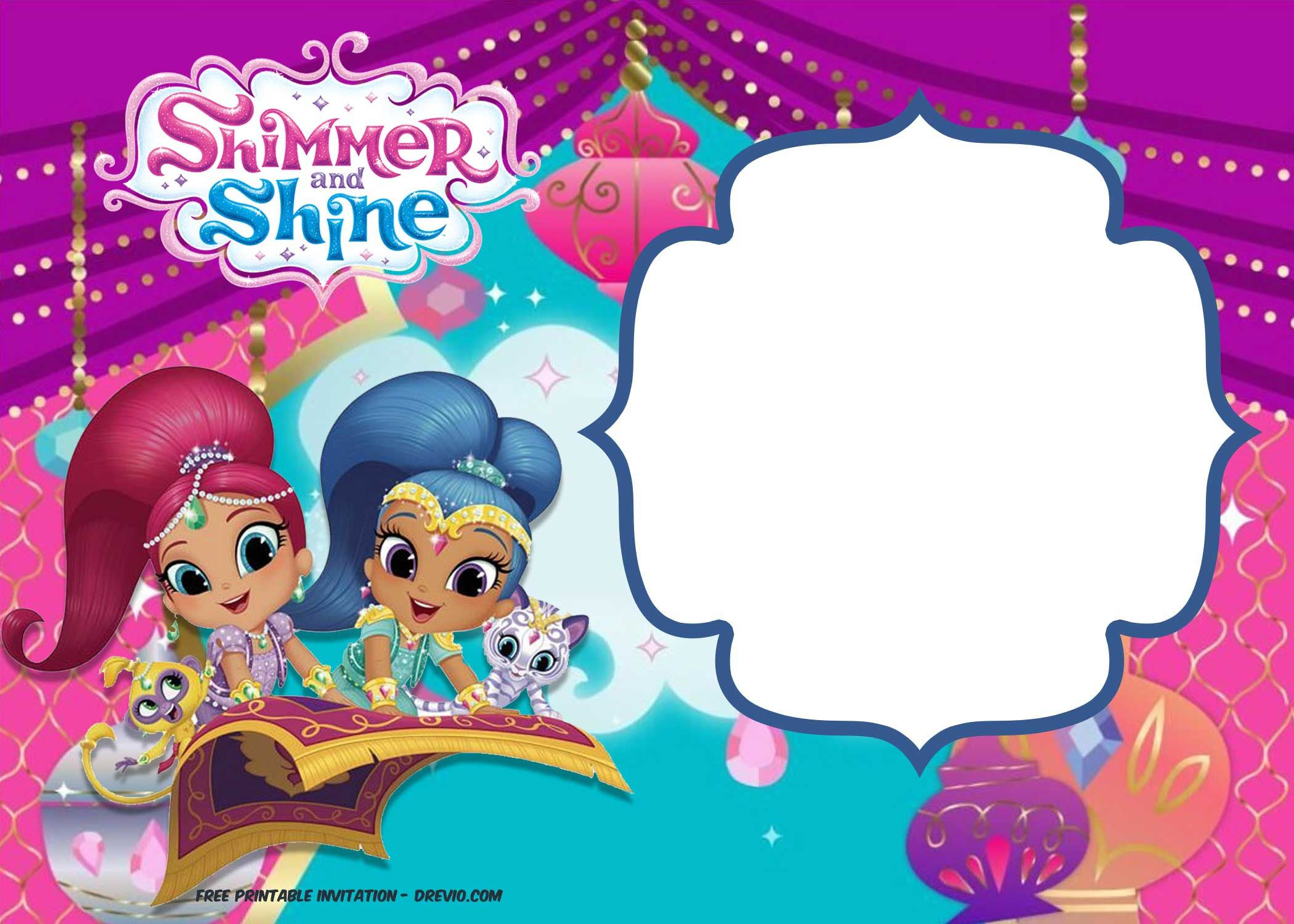 shimmer and shine invitation template