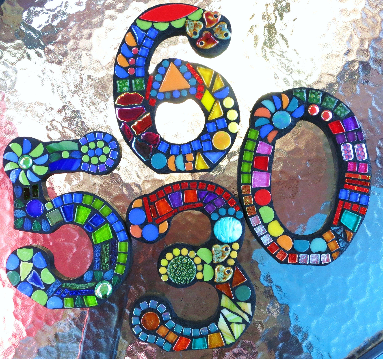 Custom mosaic numbers by Tina Wise Crackin Mosaics