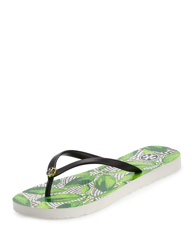 bf45cde63cc834 Tory Burch Thin Leaf-Print Flip-Flop Sandal