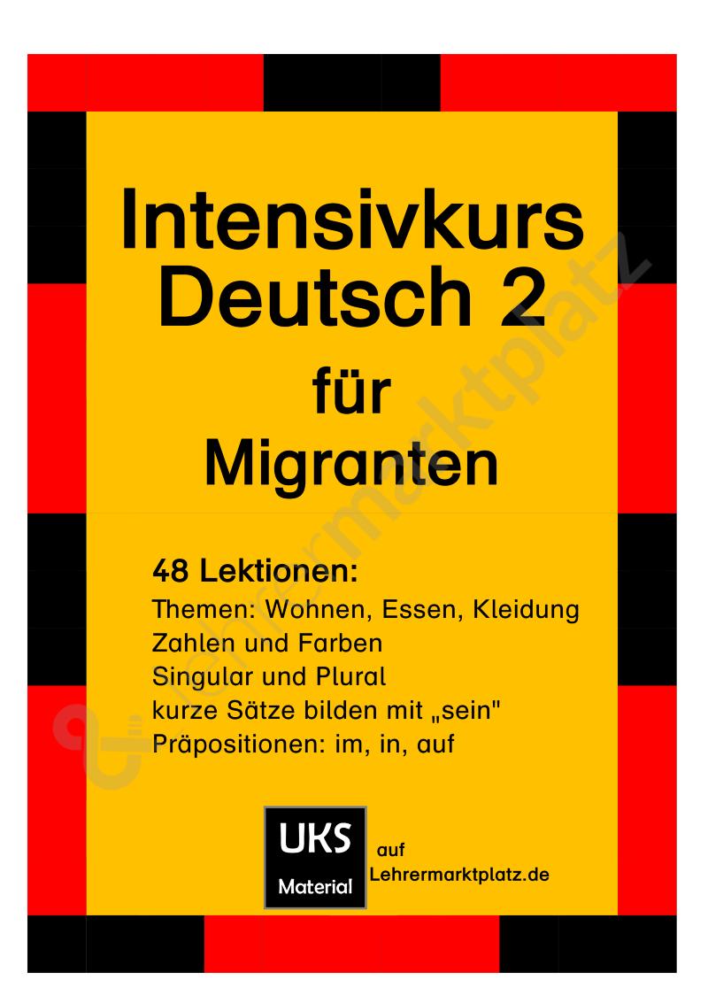intensivkurs deutsch ii f r migranten sch lerarbeitsheft s tze bilden thema wohnen essen. Black Bedroom Furniture Sets. Home Design Ideas
