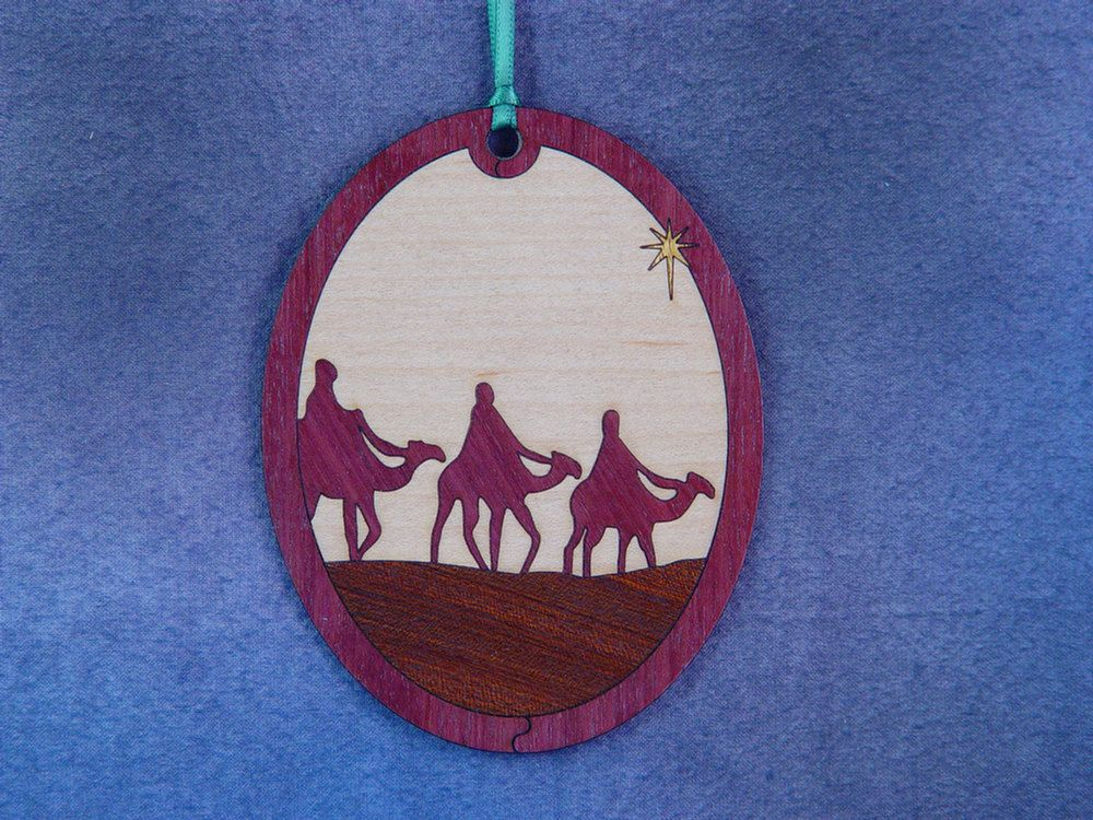 Wood Inlay Christmas Ornament - Epiphany by EzMarquetry on Etsy