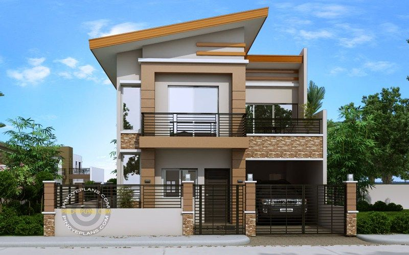 Front Perspective Of Modern House Two Story House Plans In 2019