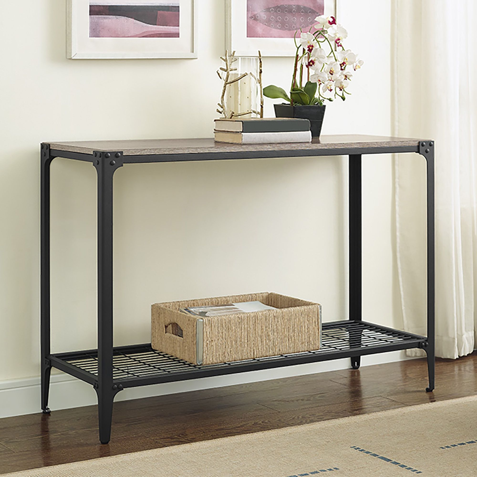 44 Inch Angle Iron Rustic Driftwood Wood Sofa Entry Table (Angle Iron  Rustic Wood