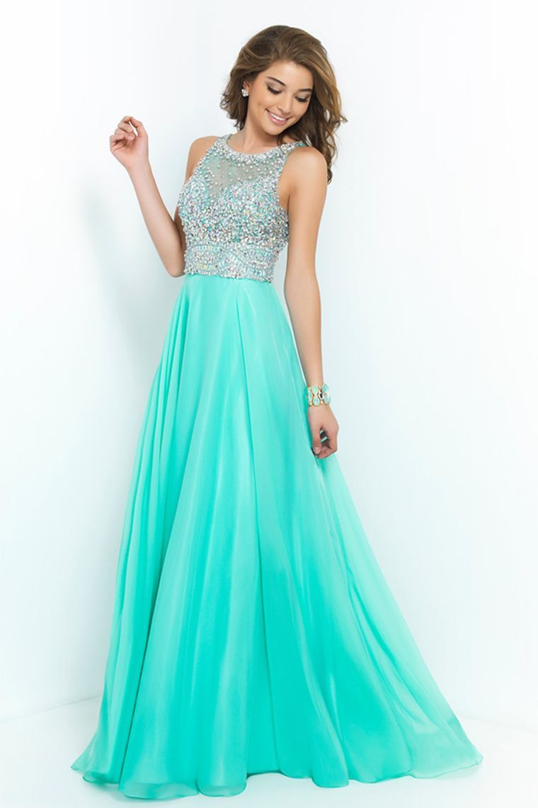 2015 Bateau A Line Prom Dresses With Long Chiffon Skirt Beaded ...