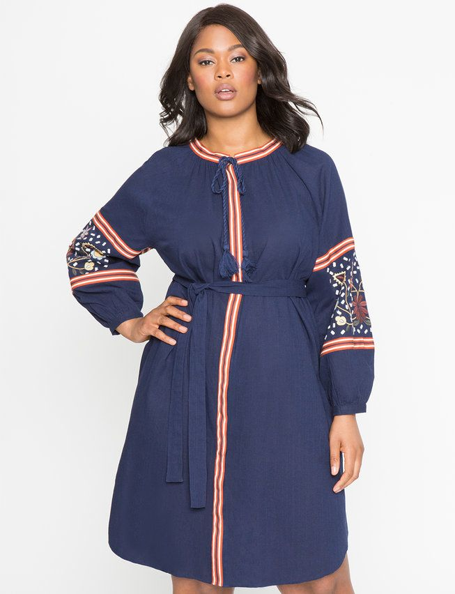 70bf04df1cf Embroidered Sleeve Shirt Dress from eloquii.com