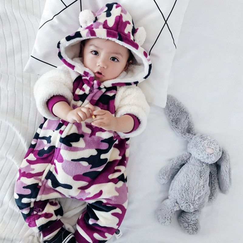634e869c9 Camouflage Baby Rompers baby girl rompers fleece baby clothes baby onesie  boy costume toddler girl winter clothes bear jumpsuit