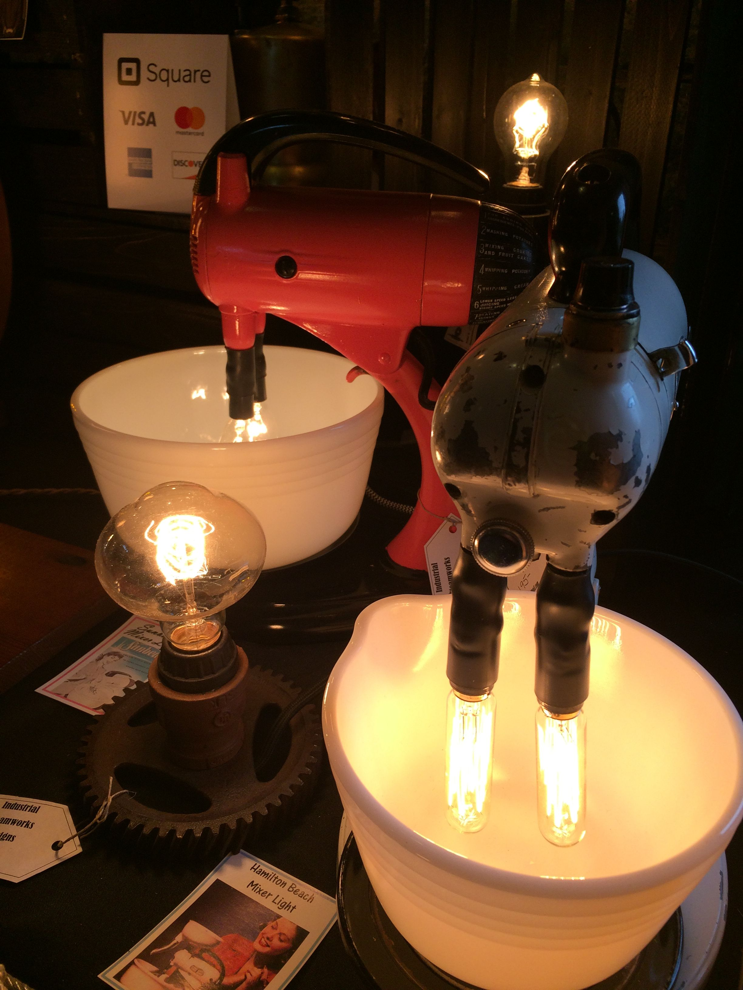 Mixer Accent Lights 195 00 Each Vintage Hamilton Beach And Sunbeam Mixers Converted Into Counter Top Lighting