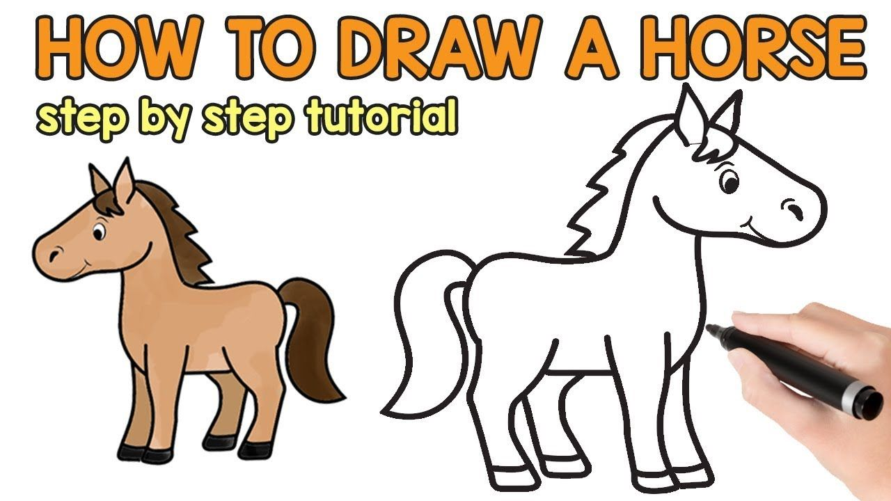 How to Draw a Horse - simple drawing tutorial | Easy ...