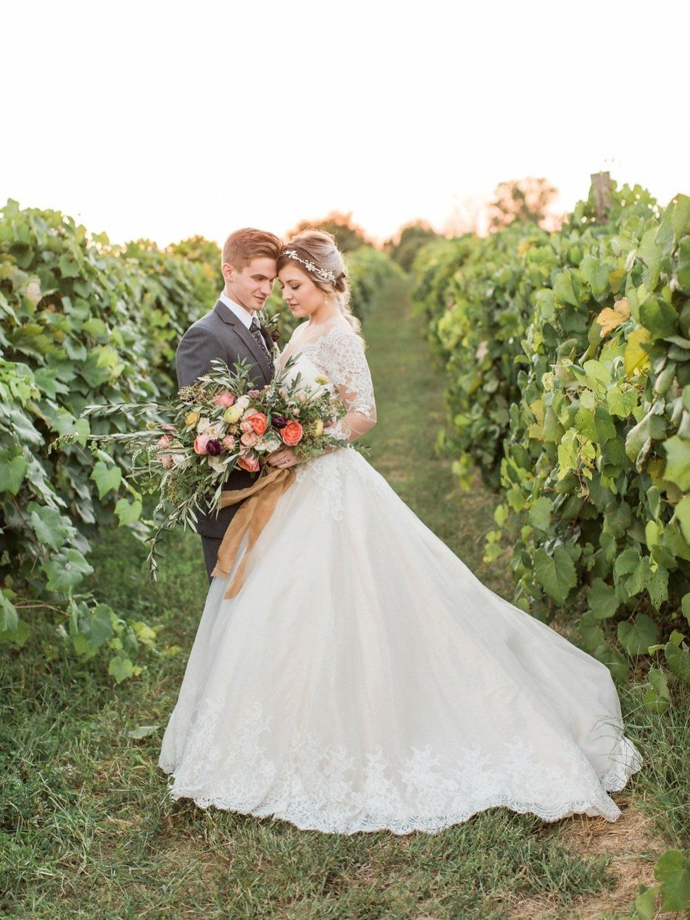 Gorgeous late summer vineyard shoot from Erin Wilson Photography, featuring Allure Bridals 9366 | Allure Bridals Blog