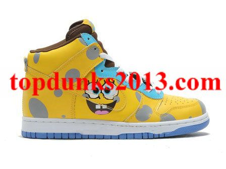 Wholesale Cartoon High Top Nike Spongebob Squarepants Dunk Comic Yellow Cheap