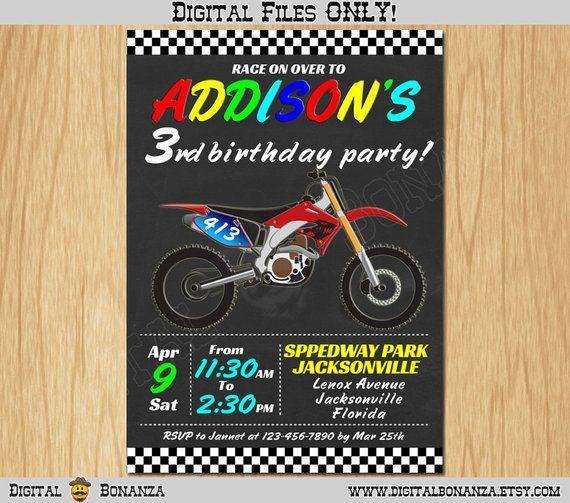 Personalized MOTOCROS Invitation Printable Race Birthday Dirt Bi