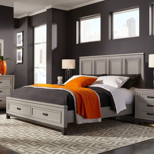 Talbot Wood Panel Bed In Driftwood Furniture Panel Bed Bed Storage