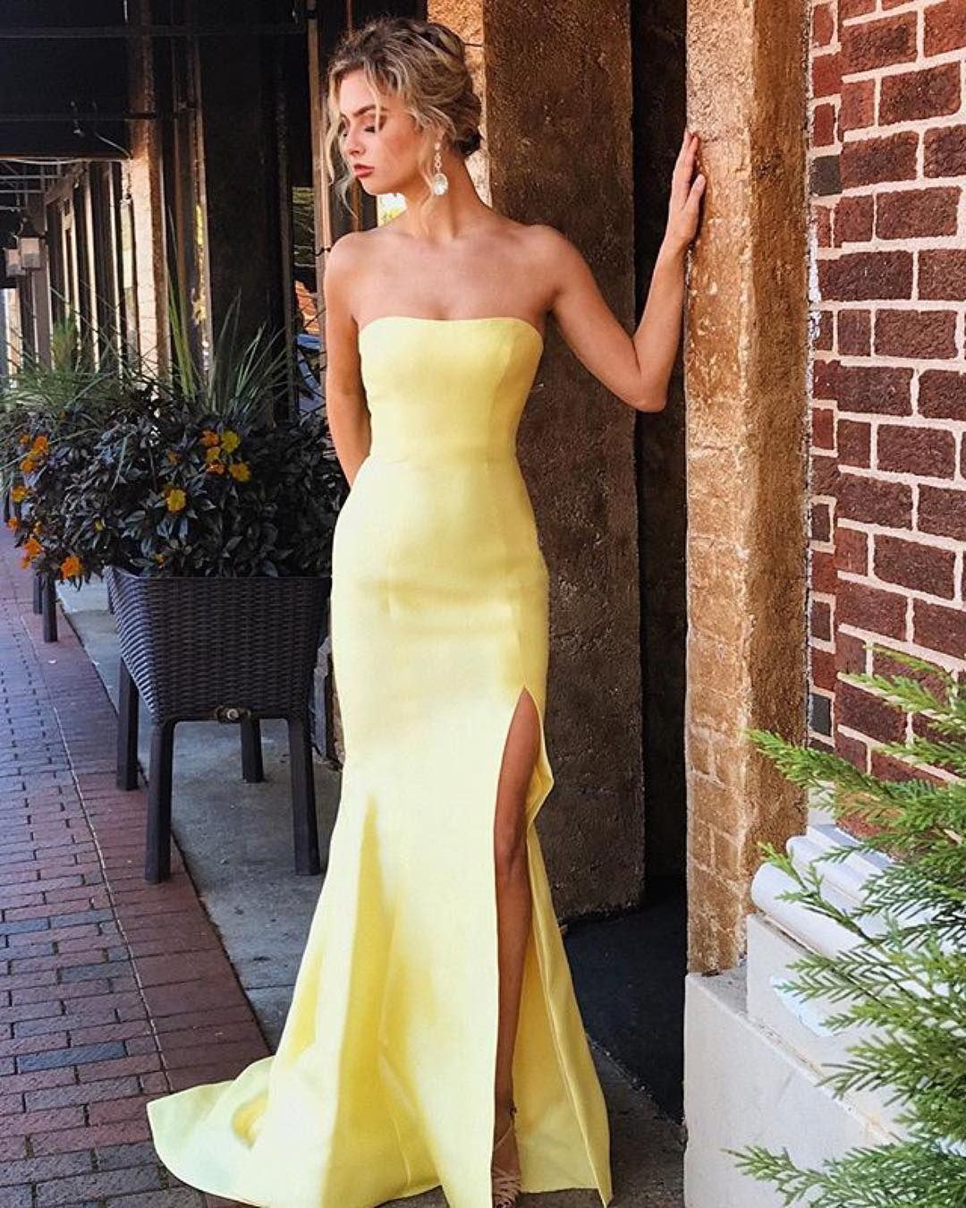 a37dad32f Yellow Strapless Party Dress, Mermaid Long Evening Dress, Sexy Slit ...