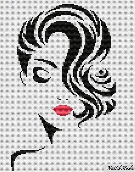 Chart Needlework Crafts DIY Counted Cross Stitch Pattern PDF Stylish girlChart Needlework C Chart Needlework Crafts DIY Counted Cross Stitch Pattern PDF Stylish girl