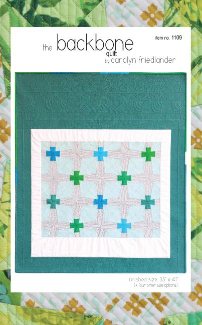 """Plus shapes big and small interlace in Backbone to create a mosaic of interlocking pieces. Use your fabric choices to highlight different parts of the design.  project size: 35"""" x 41"""" (plus ..."""
